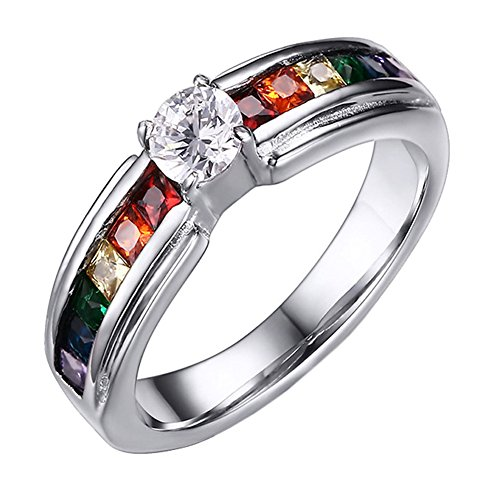 Oakky Unisex Stainless Steel Silver Square Rainbow Cubic Zirconia Pride LGBT Ring Gay & Lesbian Wedding Band Size 9