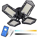 Dimmable LED Garage Light 120W, 12000LM Deformable Garage Light with Color Change and Timing, Garage Lights Ceiling LED with Remote Control&APP, 4 Leaf Bright Garage Light E26 for Warehouse, Basement
