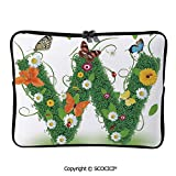 YOLIYANA Laptop Bag Nature Inspired Green Foliage with Wildflowers Various Butterflies Laptop Sleeve Bag Water-Resistant Protective Case Bag Compatible with Any Notebook 11.6 inch/12 inch