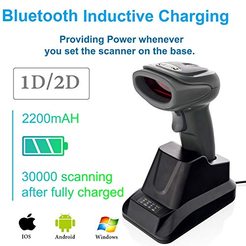 LS-PRO 2D QR wireless Bluetooth Barcode Scanner with USB Cradle Receiver Charging Base handheld 1D/2D Data matrix PDF417 image reader 100 ft Transmission Range long-life Battery 2200mA,1 Year Warranty 3d barcode scanner
