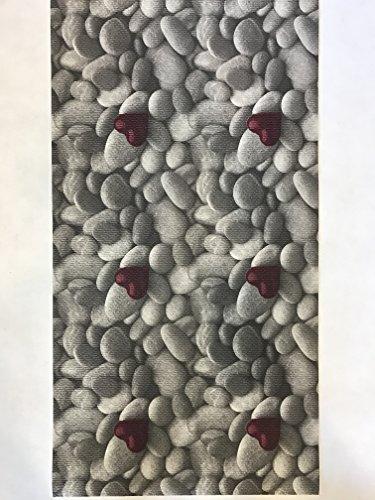 Keuken tapijt, per meter, PVC, 55 breed, grijs met hart, rood