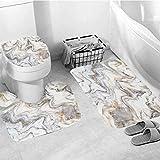 ZDNko Tappetino da bagno per bagno stampa marmo modello tenda da doccia per camera da bagno set di tende da bagno impermeabile set di tappetini per WC antiscivolo set di tappeti per hotel - Tipo 2