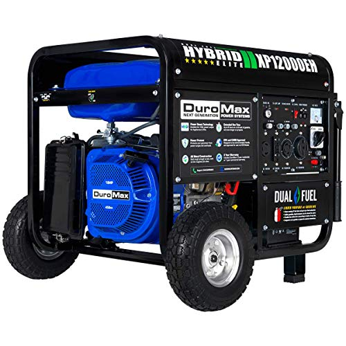 DuroMax XP12000EH Dual Fuel Electric Start Portable Generator, Blue and Black