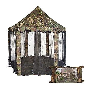 Best Goods Tente hexagonale CastleTent, grande taille 140 x 140 x 135 cm, pour l'intérieur et l'extérieur (camouflage)
