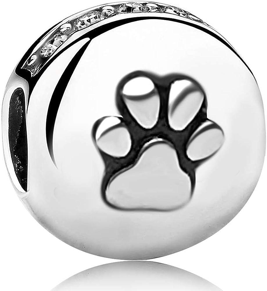 JMQJewelry Dog Paw Print Bone Mom Birthday Birthstone Charms for Bracelets Grandma Christmas Mothers Halloween Gifts