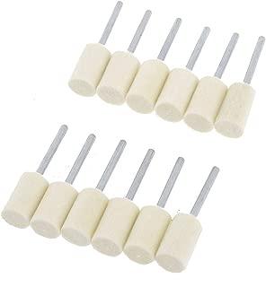 uxcell Electric Drills 8mm Cylindrical Head Felt Bobs 3mm Polisher Shank 12pcs