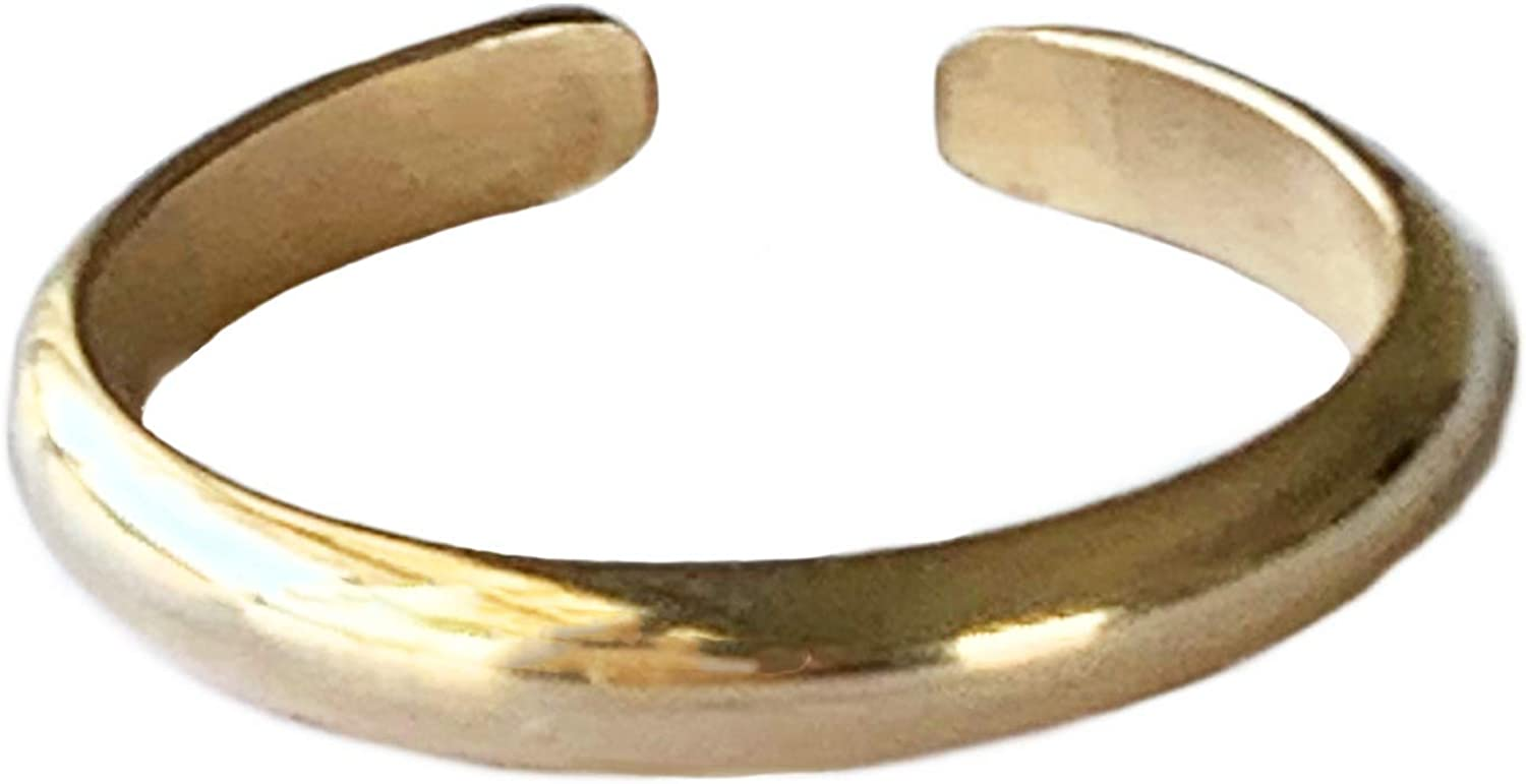 Toe Ring | 3mm Half Round 14k Gold Fill | Adjustable Ring For Foot, Knuckle, Or Midi | Simple Gold Band