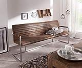 DELIFE Essbank Earnest Braun Vintage 200 cm mit Armlehne Gestell Edelstahl Sitzbank