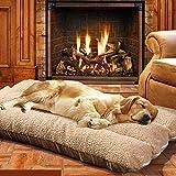 Yuly Matelas orthopédique pour chien et chat de taille moyenne et grande - Coussin en polaire - 120 x 80 cm - Coussin en mousse à mémoire de forme - Amovible et lavable - Marron