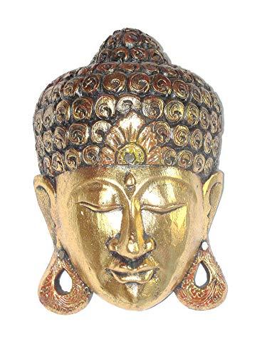 Buddha - Maske Gold 30 cm Holzmaske Wandmaske Buddhakopf Gesichtmaske