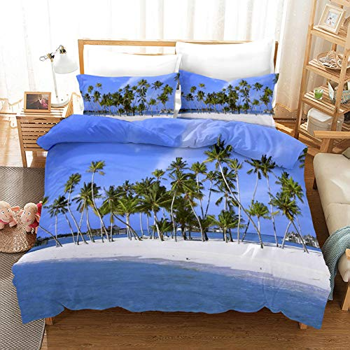 HDBUJ Blue Sky Coconut Tree Zipper Duvet Cover, Soft Polyester Bedding, Easy To Maintain, Two Matching Pillowcases 240X220Cm