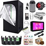 Gardeners Corner Hydroponics Complete Grow Room Tent Kit - 4' Fox Odour Neutralising Filter Kit - 600w LED...