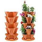 "Houseables Stackable Planter, Garden Vertical Planters, 30"" H x 14"" W, Polypropylene, Terracotta, Gardens, 5 Tiers, Tower, Indoor, Gardening Pots, Plant Stand, for Herbs, Strawberries, Vegetable"
