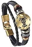 Hamoery Punk Alloy Leather Bracelet Constellation Braided Rope Bracelet Bangle Wristband(Taurus)