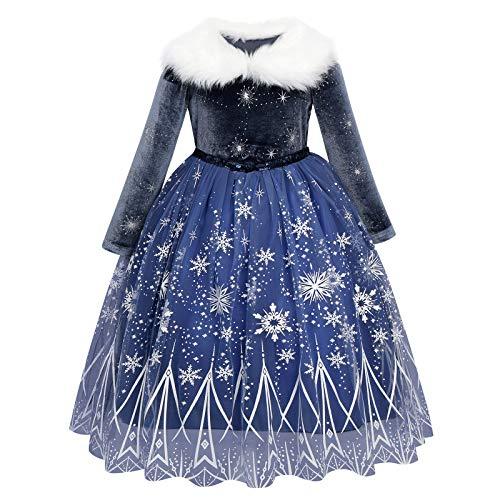 FYMNSI Mädchen Elsa Anna Kostüm Kleid Party Outfit Verkleidung Schneekönigin Prinzessin Halloween Karneval Cosplay Kleid für 2-8 Jahre Gr. 6-7 Jahre, dunkelblau