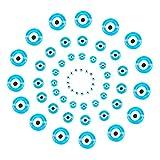 nbeads 80 Pcs Plat Rond Evil Eye Main Verre Lampwork Perles Charms Entretoise Perles pour Bracelets Collier Fabrication De Bijoux