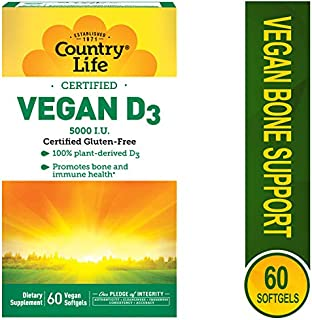 Country Life Vegan D3 5000 IU - Promotes Immune Health & Bones - 60 Softgels