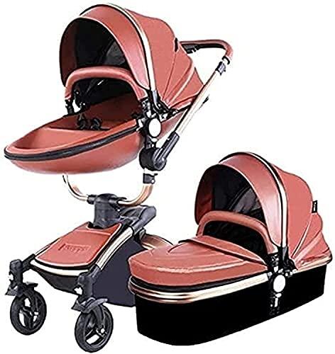 KDRICH Carro Plegable, diseño de cáscara de Huevo, Carro de amortiguación, Carretilla de Alta Vista, Carro Plegable con Techo Ajustable (Color : Marrón, tamaño : 2 in 1)