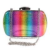 Magibag Women Rainbow Glitter Clutch Purse Crossbody Chain Wallet Bag for Wedding Evening Party Handbag