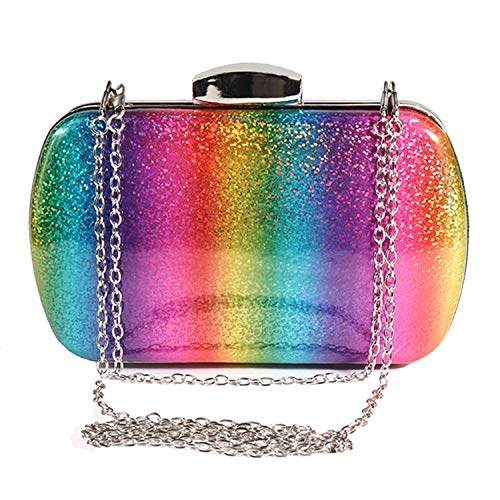 Magibag Updated 2019 Version Women Rainbow Crossbody Chain Bag Wallet for Wedding Evening Party Clutch Purse Handbag、