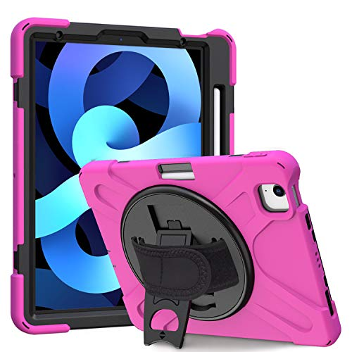 Kowauri Case for iPad Air 4 Gen 10.9 Inch 2020,Heavy Duty Rugged Protective Shock Proof Cover for Kids with Stand Pencil Holder for iPad Air 4th Generation 10.9' 2020 (Rose red)