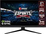 MSI Optix G273QF Monitor Gaming 27', Display 16:9 (WQHD) 2560x1440, Frequenza 165Hz, Tempo di risposta 1ms, Pannello IPS, G-SYNC Compatibile, VESA 100x100mm