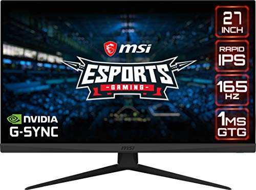 MSI Optix G273QF Esports Gaming IPS Monitor - 27 Zoll, 16:9 WQHD (2560 x 1440), Rapid IPS, 165Hz, 1ms GTG Reaktionszeit, G-SYNC kompatibel, weniger blaues Licht, VESA-Montage, DisplayPort, HDMI