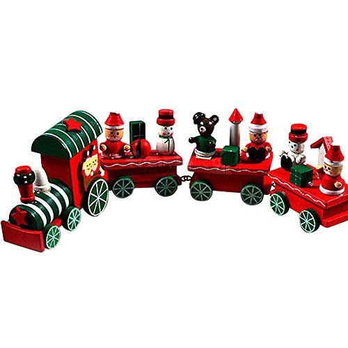 Trenes de Juguete,4 Piezas de Madera Navidad Tren de Navidad decoración hogar decoración niños Trenes de Madera...