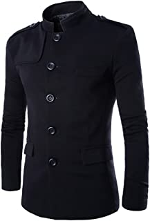 AOWOFS Men's Cotton Lightweight Warm Coat Slim Fit Single Breasted Leisure Suit Jacket