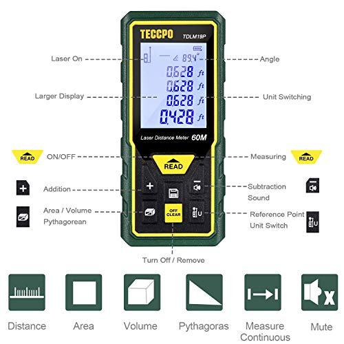 Laser Measure Advanced 196Ft TECCPO, Mute Laser Distance Meter with Electronic Angle Sensor, Backlit LCD, Measure Distance, Area, Volume and Pythagoras, Carry Pouch and Battery Included, TDLM19P