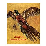 'Western Winchester Pheasant'- Wall Art Sign- 8 x 10'- Gun Sign Replica Print-Ready to Frame. Home-Lodge-Camp-Décor. Perfect Retro Decor Addition For Hunting & Winchester Fans.