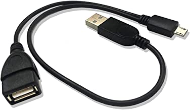 AuviPal 2-in-1 Micro USB to USB Adapter (OTG Cable + TV's USB Power Cable) - Black