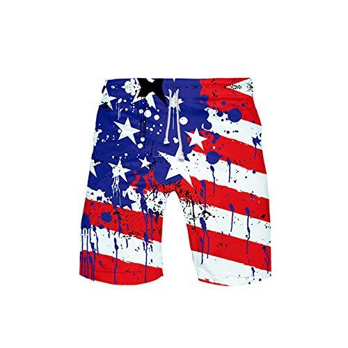URVIP Herren Flagge der USA Badeshorts Schnell trockene Badehose Fashion Beach Board Shorts mit elastischer Taille Flagge-04 5XL