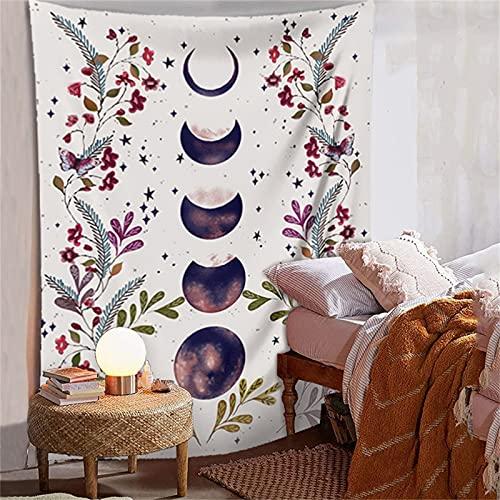 YYRAIN Bohemia Naranja Sol Luna Tapiz Decoraciones para El Hogar Fondo De Pared Tapiz Pasillo Arte De La Pared 51.2x59 Inch{130x150cm}