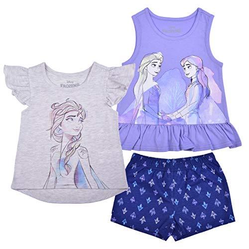 Disney 3 Pack Frozen Girl's Elsa and Anna Short Sleeves Tee, Sleeveless Shirt and Shorts Set, 6 Light Beige