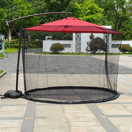Mosquitera del paraguas del patio, Red de poliéster para sombrilla, Cubierta al aire libre de la red del mosquito del paraguas de la pantalla de la tabla del paraguas del jardín con la cremallera