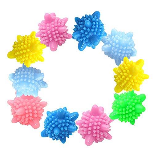 Amacoam Waschball Waschkugel für Waschmaschine Wäscherei Ball Kunststoff Trocknerbälle Wiederverwendbare Trocknerball Laundry Ball Solid Bunte Trockner Bälle,Zufällige Farben 10 Stück