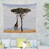 Afrika Giraffe Wandteppich Wandbehang Tapisserie Bohemian Mandala Wandtuch Strandtuch Tischdecke Dekotuch YogaMatte Wanddeko Baum 200x150cm