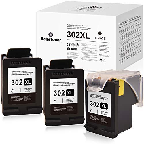 BeneToner 3 Remplacement pour HP 302 302XL Cartouches d'encre Compatible pour HP DeskJet 3639 3630 OfficeJet 3831 3830 3833 OfficeJet 5230 5232 4655 4650 Envy 4525 4500 4520 (3xNoir)
