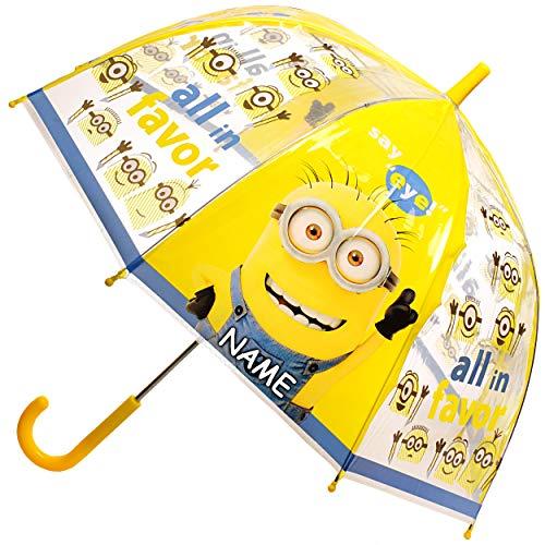 alles-meine.de GmbH Regenschirm -  Minions - ich einfach unverbesserlich  - inkl. Name - Kinderschirm Ø 70 cm / durchsichtig & durchscheinend - transparent - Kinder - groß Stoc..
