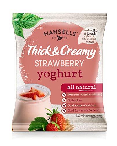 6X Sachets Hansells - Thick & Creamy Strawberry Yoghu