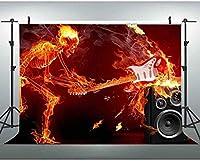 HD JSCTWCL音楽のテーマの背景ヘビーメタル音楽の写真の背景炎バーニングスケルトンと楽器クールな音楽の背景パーティーミュージックバーフォトスタジオの小道具10x7ft372
