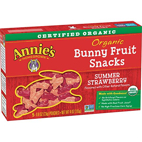 Annie's Organic Bunny Fruit Snacks, Summer Strawberry, 5 Pouches, 0.8 oz Each