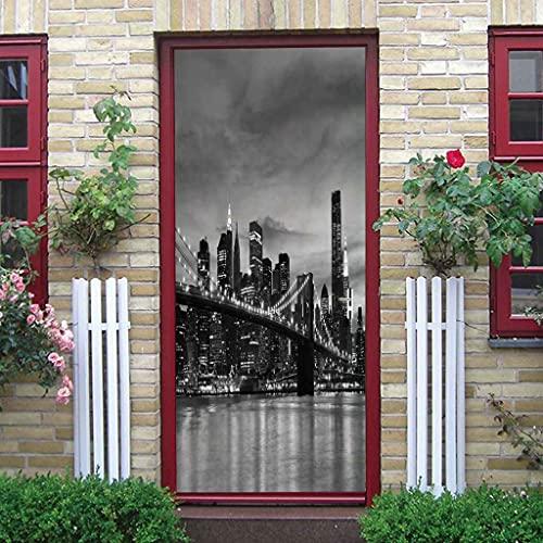 RGAHOT Pegatinas de puerta en 3D 88x205cm Puente blanco y negro con estilo Autoadhesivo Murales Carteles Pegatinas de Pared DIY Decoraciones para Puerta Sala de Baño Estar Dormitorio Decorativos