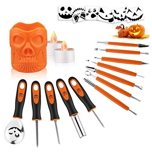 Pumpkin Carving Kit - 21 Pcs Pumpkin Carving Set With Stainless Steel Knives, Skull Carrying Bucket For Adult & Kids, Sculpting Tools For Halloween Decorations, Jamboree, Jabbering Jack O Lantern