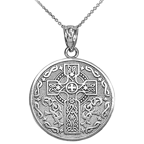 .925 Sterling Silver Reversible Celtic Knot Cross and Irish Blessing Dangling Pendant Necklace - 22' Chain