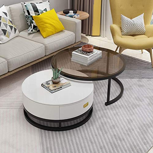 Nesting Round Coffee Table with Drawer Modern Design Furniture Sturdy Metal Frame Legs Stackable Sofa Table Cocktail Table for Living Room Set of 2, Easy Assembly, Black+White
