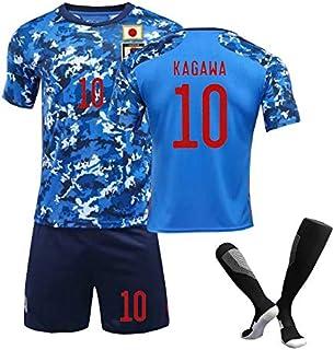 PATA サッカースーツ 2020-21ジャパンチームホームスタジアム、10#、フットボールトレーニングスーツ、大人、ティーンエイジャー、子供のためのサッカーユニフォーム、サッカーソックス、フットボールシャツとフットボールショーツ、サッカー ウ...