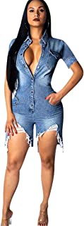 Women's Long Sleeve Lapel Button Pockets Bodycon Shorts Sexy Nightclub Party Denim Jumpsuit Rompers