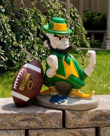 Stone Mascots - University of Notre Dame Leprechaun College Stone Mascot